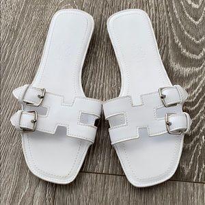 Shoes - White slip on sandals